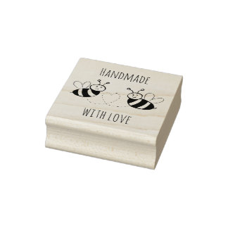 Honey Bees with Heart Handmade with Love Rubber Stamp