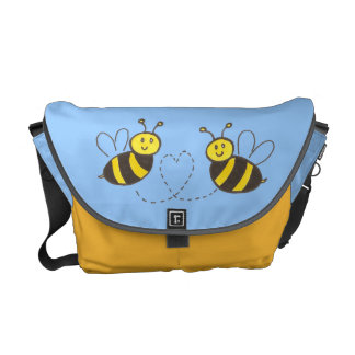 Honey Bees with Heart Messenger Bags