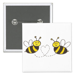Honey Bees with Heart Pinback Button