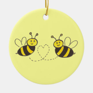 Honey Bees with Heart Round Ceramic Decoration
