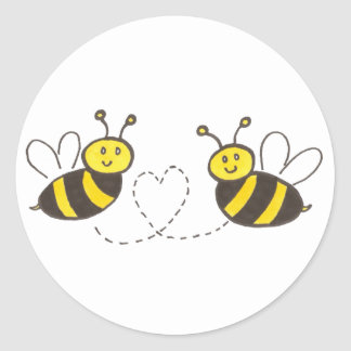 Honey Bees with Heart Round Sticker