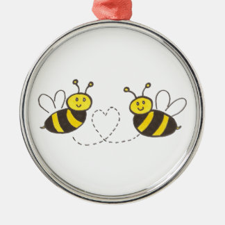 Honey Bees with Heart Silver-Colored Round Decoration