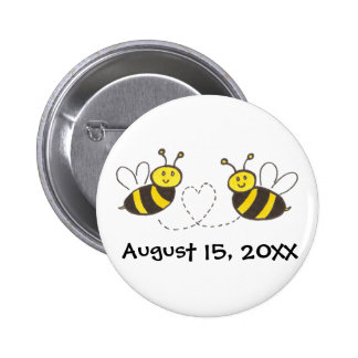 Honey Bees with Heart with Customizable Date Pinback Buttons