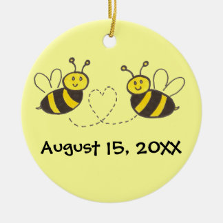 Honey Bees with Heart with Names and Date Round Ceramic Decoration