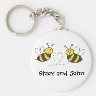 Honey Bees with Heart with Personalized Name Basic Round Button Key Ring