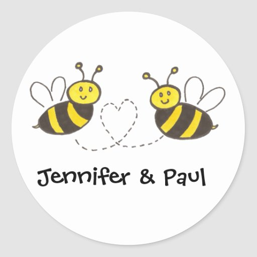 Honey Bees with Heart with Personalized Names Stickers