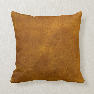 Honey Buckskin Leather Fine Grain Amber Mustard Cushion