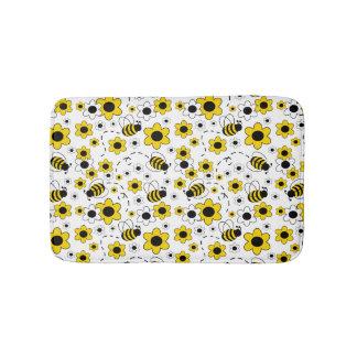 Honey Bumble Bee Bumblebee Girl Yellow Floral Bath Mats