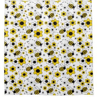Honey Bumble Bee Bumblebee Girl Yellow Floral Shower Curtain