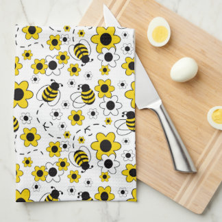 Honey Bumble Bee Bumblebee White Yellow Floral Tea Towel