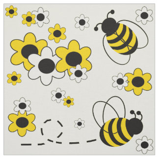 Honey Bumble Bee Sunny Yellow White Floral Fabric