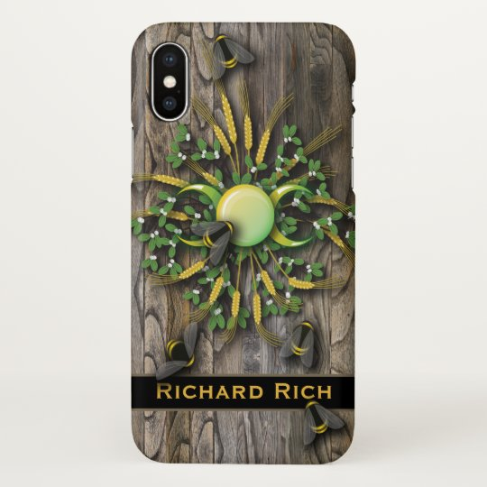Honey bumble bees wood effect pagan moon phases iPhone x case