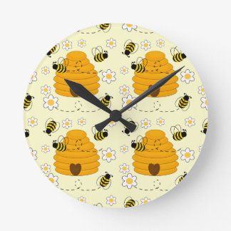 Honey Bumblebee Hive Yellow Daisy Floral Flower Round Clock