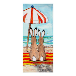 Honey Bunny Beach Rabbit Tropical Vacation Poster