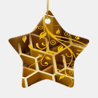 honey ceramic star decoration