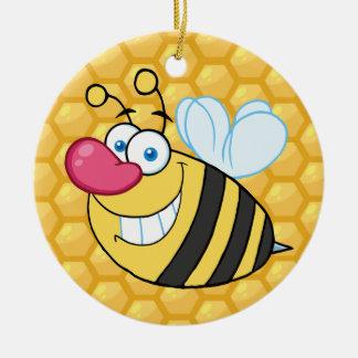 Honey Comb Bee Round Ceramic Decoration