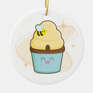 Honey Cupcake Round Ceramic Decoration