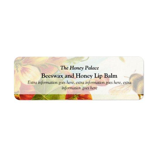 Honey Floral Bee Bath Spa Products Label Return Address Label