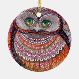 Honey gold owl round ceramic decoration