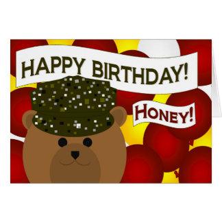 Honey - Happy Birthday Army Soldier Wife! Card