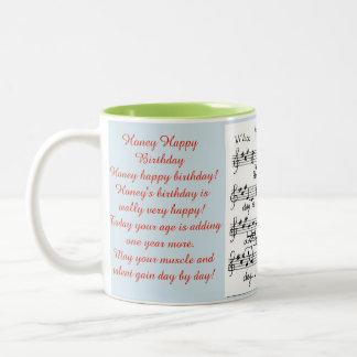 Honey Happy Birthday with a song sheet. Two-Tone Coffee Mug
