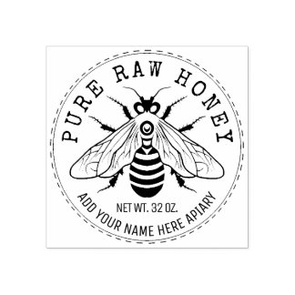 Honey Jar Labeling | Honeybee Honeycomb Bee Apiary Rubber Stamp