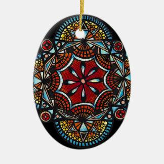 Honey nest - nature manadala spider & bee ceramic oval decoration