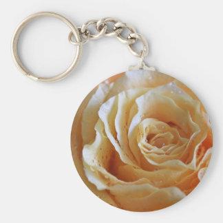 Honey Peach Rose Basic Round Button Key Ring