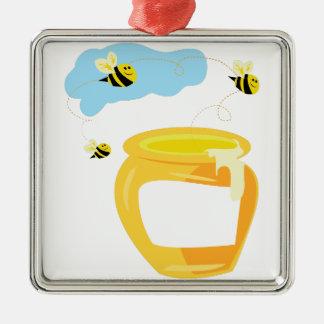 Honey Pot Silver-Colored Square Decoration