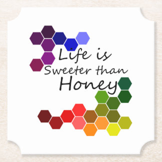 Honey Theme With Positive Words Paper Coaster