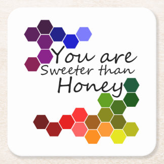 Honey Theme With Positive Words Square Paper Coaster