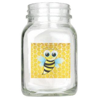 Honeybee and Honeycomb Glass Mason Jar Mug or Vase