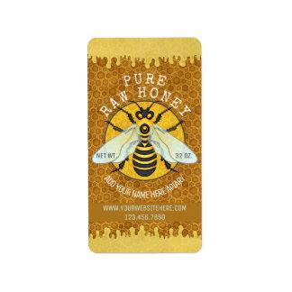 Honeybee Apiary Honey Jar Labels | Honeycomb Bee