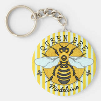 Honeybee Bumblebee Queen Bee Honey | Personalized Basic Round Button Key Ring