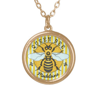 Honeybee Bumblebee Queen Bee Honey | Personalized Gold Plated Necklace