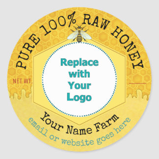 Honeybee Honey Jar Apiary Logo | Honeycomb Bee Classic Round Sticker