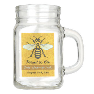 Honeybee Honeycomb Bee Wedding Rustic Personalized Mason Jar