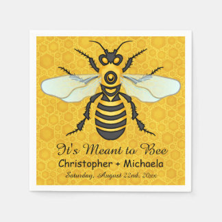Honeybee Honeycomb Bee Wedding Theme Custom Disposable Serviettes