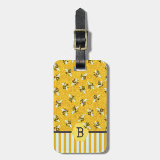 Honeybee Honeycomb Bumble Bee Monogram Pattern Luggage Tag