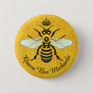 Honeybee Honeycomb Bumble Bee Queen | Custom Name 6 Cm Round Badge