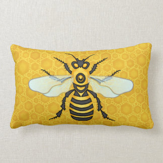 Honeybee Honeycomb Cute Large Bee Nature Lumbar Cushion