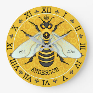 Honeybee Honeycomb French Bee Bumblebee Custom Large Clock