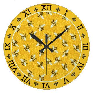 Honeybee Honeycomb French Bee Bumblebee Pattern Large Clock