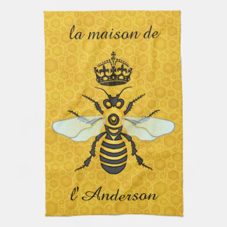 Honeybee Honeycomb French Bee Elegant Custom Name Tea Towel