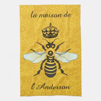 Honeybee Honeycomb French Bee Elegant Custom Name Towels