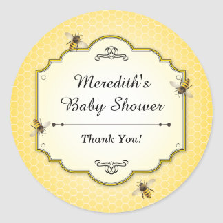 Honeybee Mother to Bee Baby Shower Thanks Classic Round Sticker