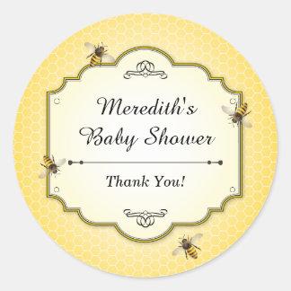 Honeybee Mother to Bee Baby Shower Thanks Round Sticker