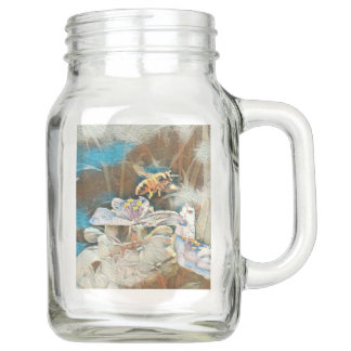 HONEYBEE ON A SPIDERWART - MASON JAR MUG