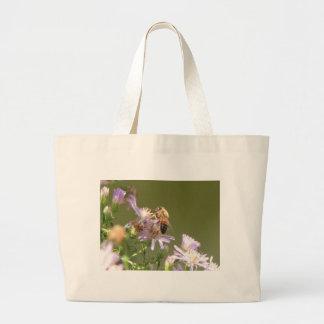 Honeybee on Wild Asters Large Tote Bag