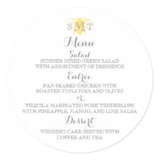 Honeybee Wedding Round Menu Card